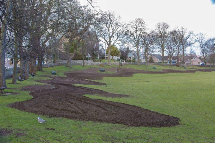 Haugh Park v Cupar, kde se obyvatelé spojili s městskou radou Fife a sází divoké květiny.